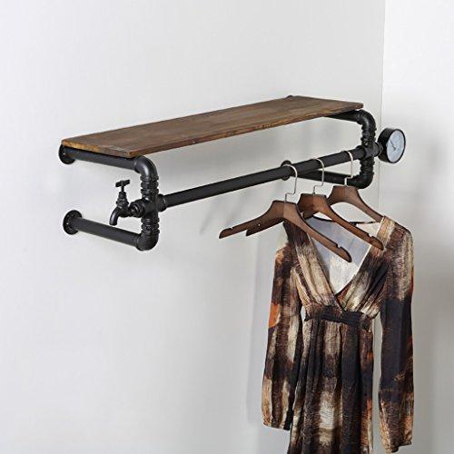 Industrielles Wandregal Kleiderständer Bekleidungsgeschäft Kleiderbügel Ausstellungsstand Retro alten tun feste Wasserpfeife Regale Kleidung Racks Wand Kleiderbügel Wandregale ( größe : 70c )
