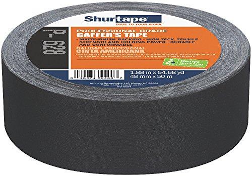 Shurtape P- 628 Professional Grade, Coated Gaffer's Tape, Social Distancing Marking, 48mm x 50m, Black, 1 Roll (138775)