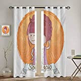 DONEECKL Zodiac Scorpio Kitchen Curtain Cartoon Style Illustration of a Girl with a Scorpion Tail Hairdo for Kids 2 Panel Sets W72 x L96 Inch Multicolor