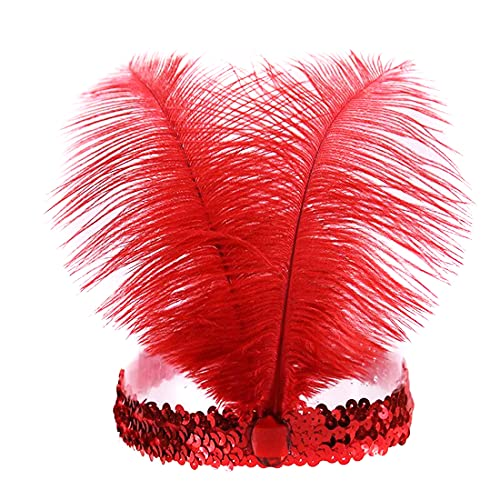 Mrotrida Sequins Feather Headpiece 1920s Carnival Party Event Vintage Headband Flapper Red