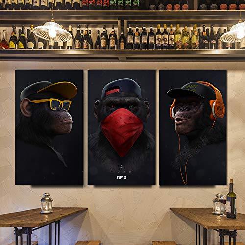 XWArtpic Große Tier Bild Leinwand Gedruckt Malerei Moderne Lustige Maske AFFE Moderne Kunst pPrint Wandkunst Poster für Wohnzimmer 50 * 90 cm