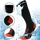 RANDY SUN 100prozent wasserdichte Wandersocken, [SGS zertifiziert] Unisex knielang atmungsaktiv Ski Trekking Socken 1 Paar, Damen, 1 Paar schwarze, wasserdichte Kniestrümpfe mit USA-Flagge, Small