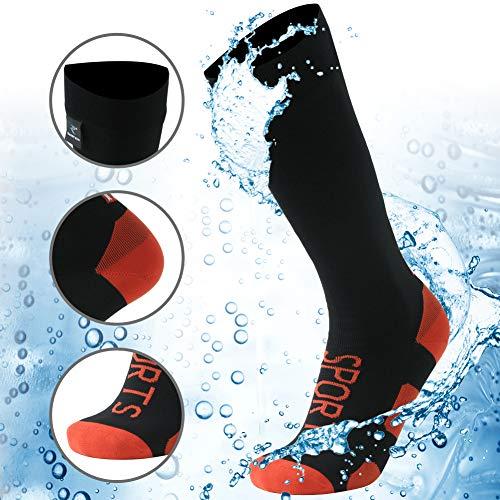 RANDY SUN 100% wasserdichte Wandersocken, [SGS zertifiziert] Unisex knielang atmungsaktiv Ski Trekking Socken 1 Paar, Damen, 1 Paar schwarze, wasserdichte Kniestrümpfe mit USA-Flagge, Small