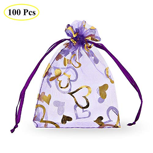 "SumDirect 100Pcs 3.35""x4.53"" Sheer Drawstring Heart Organza Jewelry Pouches Wedding Party Christmas Favor Gift Bags (Light Purple)"