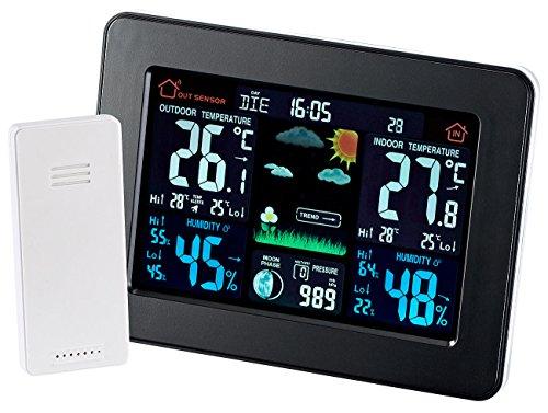 infactory Thermometer: Wetterstation mit Farb-Display, Funk-Außensensor, DCF-Funk-Zeitanzeige (Funk Wetterstation Farbdisplay)