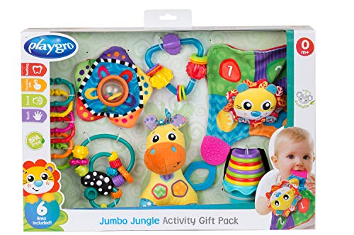 Playgro Jumbo Jungle Activity Geschenk-Set, Baby Spielzeuge, 24-teilig, Ab 0 Monate, BPA-frei, Bunt, 40209
