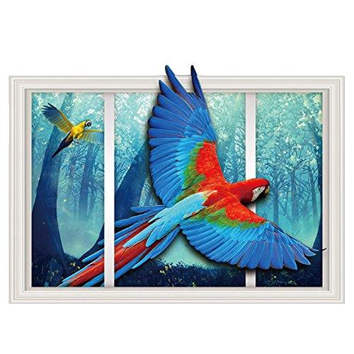 Winhappyhome 3D Lifelike Parrot Faux Window Art Stickers Muraux pour Chambre Salon TV Backdrop Amovibles Decor Stickers