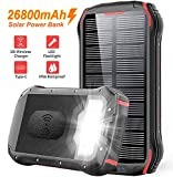 26800mAH Portable Phone Solar Charger, Qi Wireless Solar Power Bank-Rainproof Camping Battery Pack