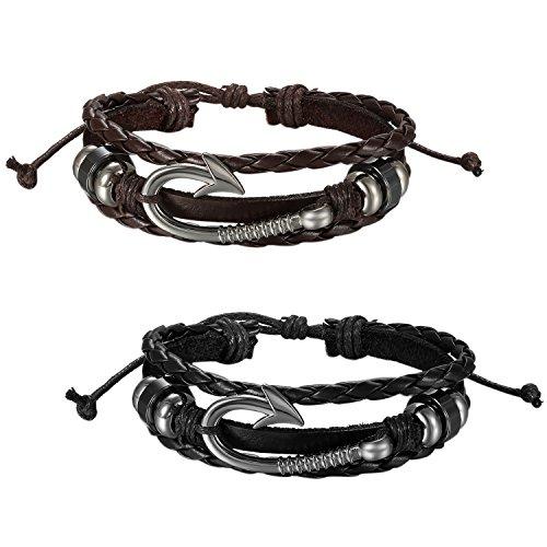 JewelryWe 2 Pulseras para Hombre Cuero Trenzada, Estilo Vikingo Vikings Piratas, Retro Vintage Gancho Marinero Nueva Moda 2017, Negro Marrón
