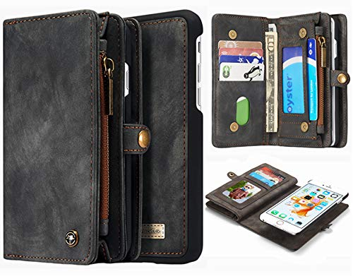 Hynice iPhone 6 Plus iPhone 6S Plus Detachable Wallet Case, Leather Purse for Women with Card Slots Zipper Pocket Removable Shockproof Shell Cover for iPhone 6 Plus 6S Plus 5.5(Black008)
