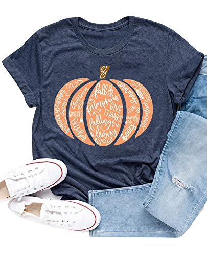 Ykomow Fall Pumpkin Shirts Womens Casual Autumn Thanksgiving Graphic Tees Halloween Tops (L, Navy)