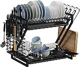 COVAODQ - Escurreplatos de 2 pisos de acero inoxidable con soporte para cuchillos y soporte para tabla de cortar (negro)