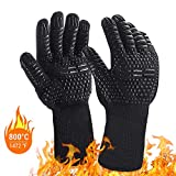 BBQ Grill Gloves, 1 Pair Safety Heat Resistant Oven Mitts, Waterproof Silicone Gloves