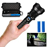 JIA LE Rechargeable Led Flashlight, 90000 Lumens Super Bright Flashlights High Lumens with 26650 Batteries Included, 3 Modes, Zoomable, Waterproof Best Tactical Flashlight for Emergencies (Black90000)