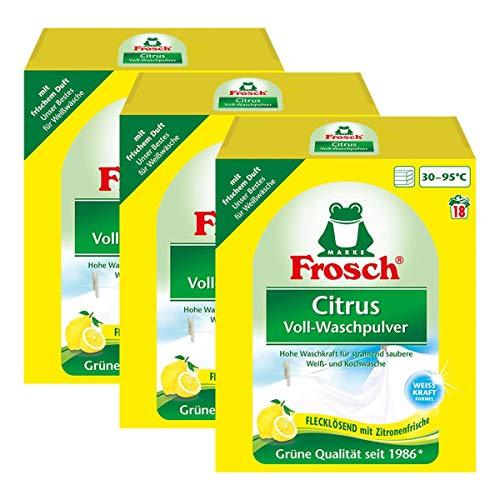 3x Frosch Citrus Voll-Waschpulver 1,35 kg - Flecklösend mit Zitrone