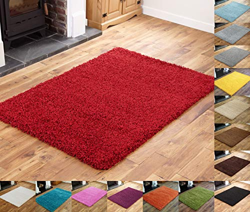 Everest 5cm Thick Pile Shaggy Modern Area Rugs Small to Large Rugs Floor Living Room Hall Bedroom Rugs Rugs Rug Runners Red Small Mat: 40 x 60cm (1ft 3' x 1ft 11')
