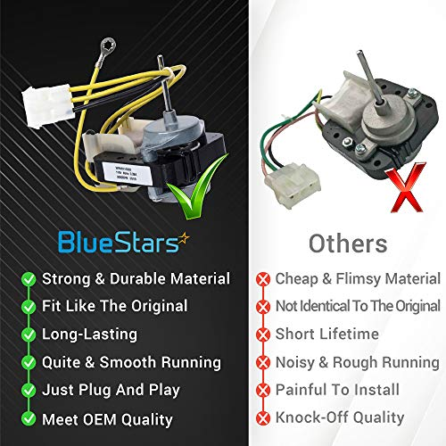 Ultra Durable WR60X10220 Refrigerator Condenser Fan Motor Replacement Part by Blue Stars – Exact Fit For GE & Hotpoint Refrigerators - Replaces AP4298602 WR60X10171 PS1766247 WR60X10133 WR60X10171