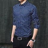 Camisa de Cuadros New Men Shirts Casual Long Sleeve Turn-Down Collar Cotton Male Plaid Shirts Slim Fit Design L Darkblue