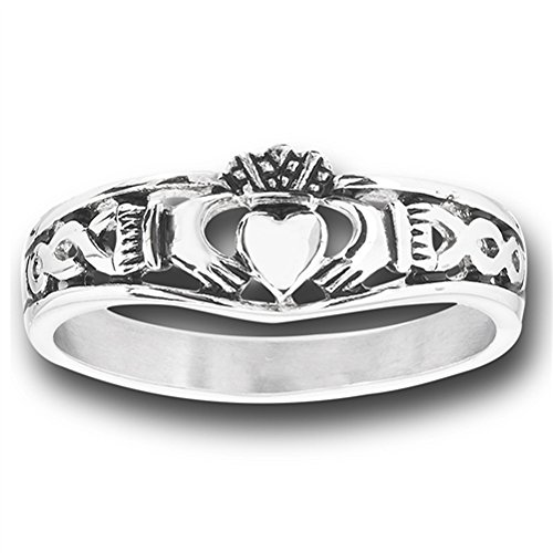 Filigree Infinity Celtic Claddagh Heart Ring New Stainless Steel Band Size 7