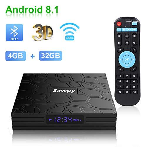 Sawpy T9 Android tv Box 8.1 4GB RAM DDR3 + 32GB ROM RK3328 Quadcore cortex-A53 4K 2.4GHz WiFi Bluetooth 4.1 Smart TV Box