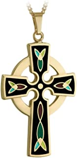 Celtic Cross Necklace Gold 18K Plated & Black Enamel Made in Ireland