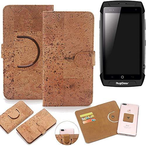 K-S-Trade® Schutz Hülle Für Ruggear RG730 Handyhülle Kork Handy Tasche Korkhülle Schutzhülle Handytasche Wallet Case Walletcase Flip Cover Smartphone Handyhülle