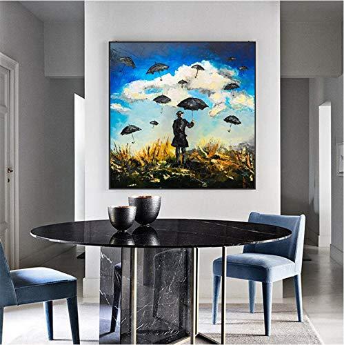 SDFSD Modieuze abstracte creatieve comicfiguur paraplu hoofddecoratie canvas schilderij muurkunst canvasdruk 50X50CM Q