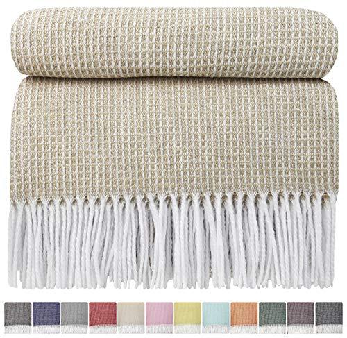 STTS International Baumwolldecke sehr weiches Plaid Wohndecke Kuscheldecke Baumwolle Marbella (140 x 200 cm, Beige)