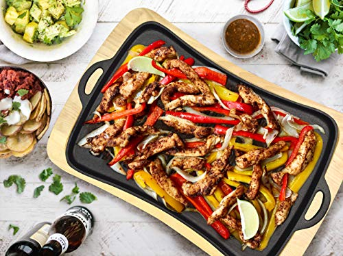 Jim Beam Cast Iron Fajita Pan with Wooden Trivet, Pre-Seasoned Ideal for Barbecuing and Camping, Large, Black
