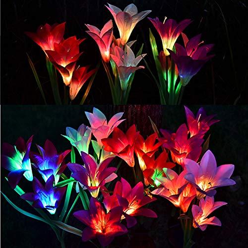 Solarlampen für Außen Solarleuchte Garten, 3 Stück Lilie Blumen Solarlichter mit Farbwechsel LED Außenbeleuchtung Solarlampen für Rasen/Terrasse/Weg (blau, pink und lila)