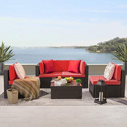 KaiMeng 5 Pieces Patio Furniture Sets Outdoor Rattan Chair Indoor-Outdoor Sectional Conversation Set Cushioned with Glass Table (Red)