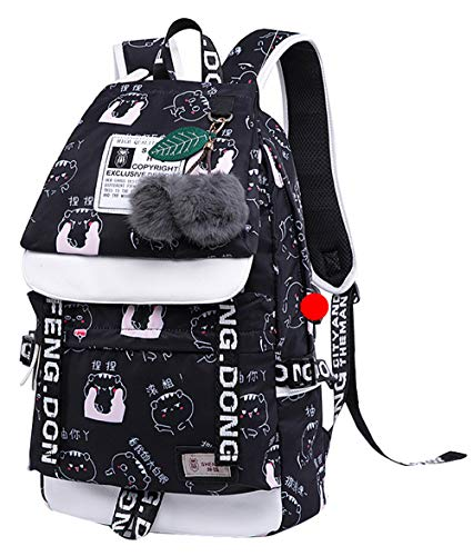 Teenage girls' Backpack Middle School Students Bookbag Outdoor Daypack With USB charge Port(1# Black,20 Liters)