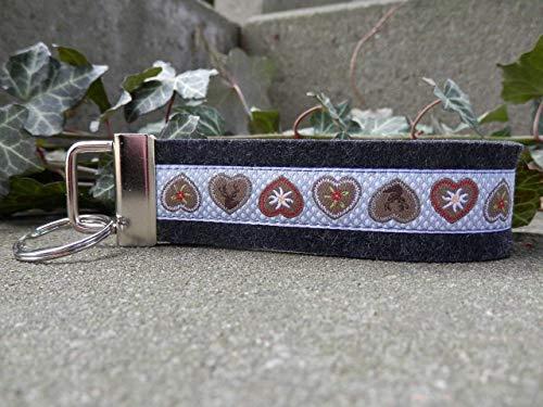 Schlüsselanhänger Schlüsselband Filz schwarz grau Webband Herzen braun grau Geschenk