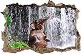 Babyelefant am Wasserfall Wanddurchbruch im 3D-Look, Wand- oder Türaufkleber Format: 62x42cm, Wandsticker, Wandtattoo, Wanddekoration