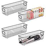 mDesign Metal Bathroom Storage Organizer Basket Bin - Farmhouse Wire Grid Design - for Cabinets, Shelves, Closets, Vanity Countertops, Bedrooms, Under Sinks - Long, 4 Pack - Graphite Gray