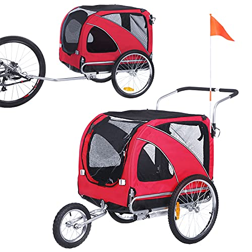Pet Bicycle Trailer, Pet Dog Bike Trailer Cargo Cart Baby Stroller with Mesh Window Outdoor Pet Carrier ,Folding Frame Carrier Quick Release Wheels for Small and Large Dogs