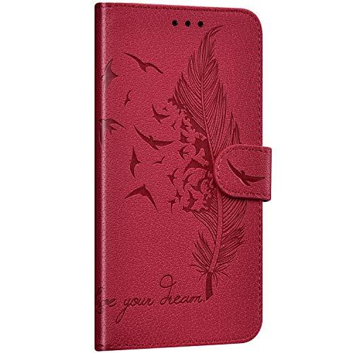 Saceebe Compatible avec iPhone 7 / iPhone 8 4.7 Coque Portefeuille Housse Cuir Etui à Rabat Plume Oiseau Rétro Motif Flip Case Fermeture Magnétique Porte-Carte Fonction de Support,Rouge