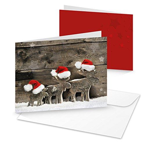 10 Stück Weihnachtskarten 3 RENTIERE natürliche Foto-Karten MIT KUVERT rot weiß braun natur Foto-Motiv Weihnachten klassische Klappkarte Doppel-Karte Santa Weihnachtsmann