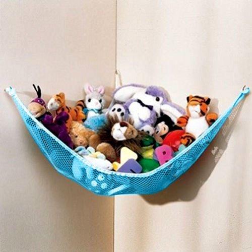Huijukon Stofftier-Hängematte, Spielzeug-Aufbewahrung, Hängematte, Netz-Organizer, platzsparende Aufbewahrung   Größe: 150 x 99 x 99 cm für Stofftiere, Kinderzimmer, Teddies (blau)