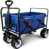 BEAU JARDIN Folding Wagon Cart 300 Pound Capacity Collapsible Utility Camping Grocery Canvas Sturdy...