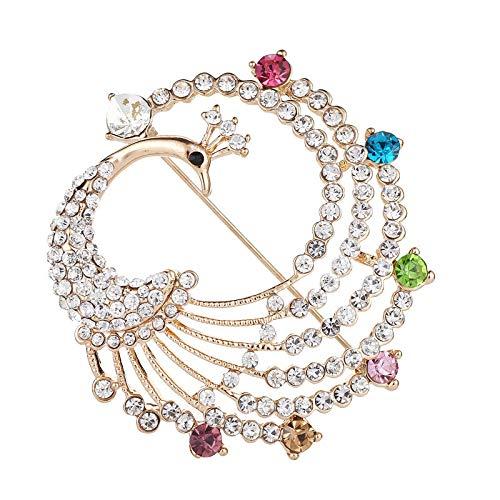 HOHHJFGG Broche De Pavo Real Animal De Moda, Colorido Diamante Bufanda De Seda Hebilla Chal Hebilla Broche Broche Accesorio Femenino