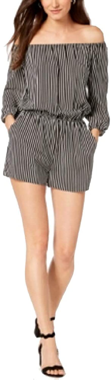 Bar III Striped OffTheShoulder Romper (Black, XL)