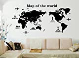 ufengke 'Vuelta Al Mundo Mapa del Mundo Pegatinas de Pared, Sala de Estar Dormitorio Removible Etiquetas de la Pared/Murales, A