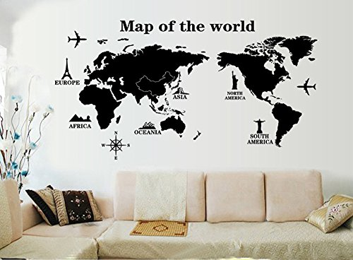 ufengke 'Travel Round The World World Map Wall Decals, Living Room Bedroom Removable Wall Stickers Murals, A