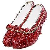Jiaheyou Ruby Slipper Bejeweled Jewelry Box Faberge Collection Shoe Trinket Box Metal Vintage Decoration