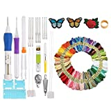 Ohwens Punch Needle Embroidery Set Craft Tools Set with 100 Colors Threads for DIY Sewing and Cross Stitch Project