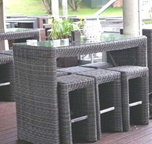 Dreams4Home Bar Lounge Set 'Tanos' - Set, 6x Barhocker, 1x Bartisch ( mit aufgelegter Glasplatte ) inkl. Polster in anthrazit, Geflecht in anthrazit, Ma?e gesamt: 140 x 72 x 106 cm