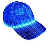Ruconla Fiber Optic Cap LED hat with 7 Colors Luminous Glowing Hip hop Baseball Hats USB Charging Light up caps Even Party led Christmas Cap for Event Holiday White