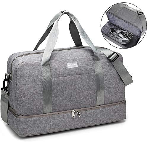 HOKEMP Gym Bag For Women Men Sport Duffel Bag with Shoes Compartment, Swim Bag Travel Tote Luggage Shoulder Bag (Grey)