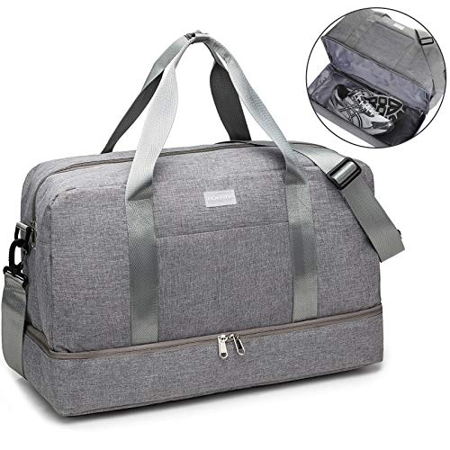 HOKEMP Gym Bag For Women Men Sport Duffel Bag with Shoes Compartment, Swim Bag Travel Tote Luggage Shoulder Bag (Grey)